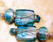 Earrings womens jewelry pierced turquoise blue silver foil lamp glass dangle silver wire wrapping Swarovski gems TAGT tenX