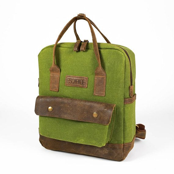 596b6e17c858 Waxed canvas backpack Green Waxed Canvas Backpack canvas Women s Mini  Backpack