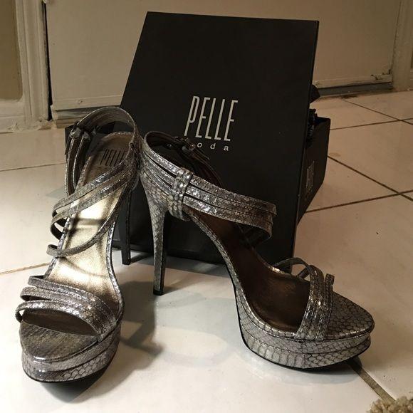 Pelle Moda Silver Snakeskin strappy  heels Originally $130, only worn once, original box Pelle Moda Shoes Heels