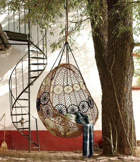 read a book or take a nap while hanging in this knotted melati hanging chair from you can hang it in your bedroom or in your