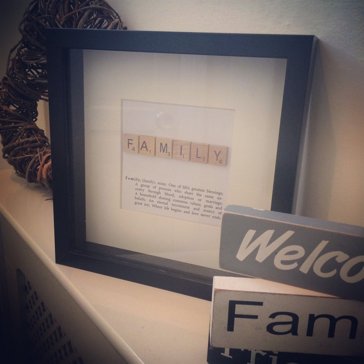 Family Scrabble Art Picture Frame With Family Definition By Artsitsybitsy