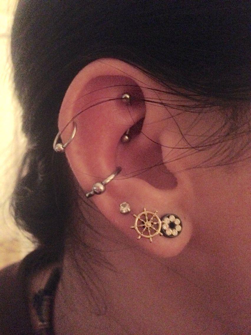 #rook #conch #piercings #cartilage #gauges #earpiercings ...