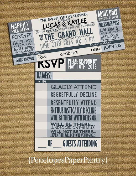 Gray Concert Ticket Wedding Invitation by PenelopesPaperPantry ...