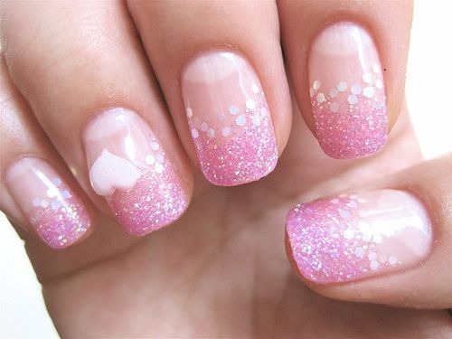 Beautiful Simple Pink Nail Art With Heart Pattern Nails