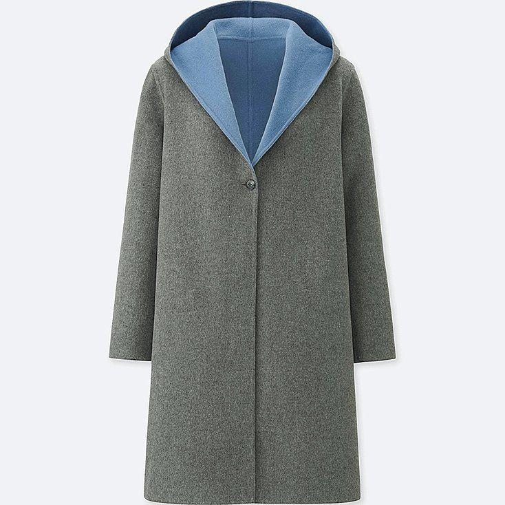 6b341ac6853 WOMEN DOUBLE-FACE HOODED COAT, GRAY   Fall & Winter Fashion Remix ...