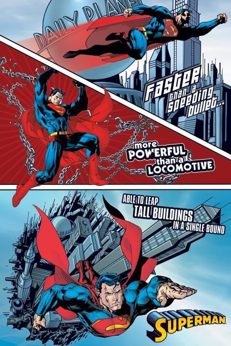 Superman Poster Faster Than A Speeding Bullet Siegel
