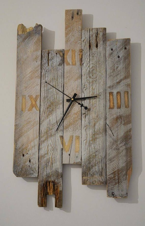wanduhr rustikal design wall clock reclaimed pallets wall clock reloj de pared l 39 horloge wall. Black Bedroom Furniture Sets. Home Design Ideas