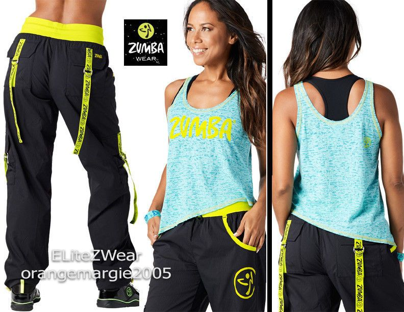 ZUMBA 2Pc.SET! Cargo Pantalones Baile Fitness! se convierte en Capri +  Camiseta sin mangas Camiseta Rara!  011882360ba