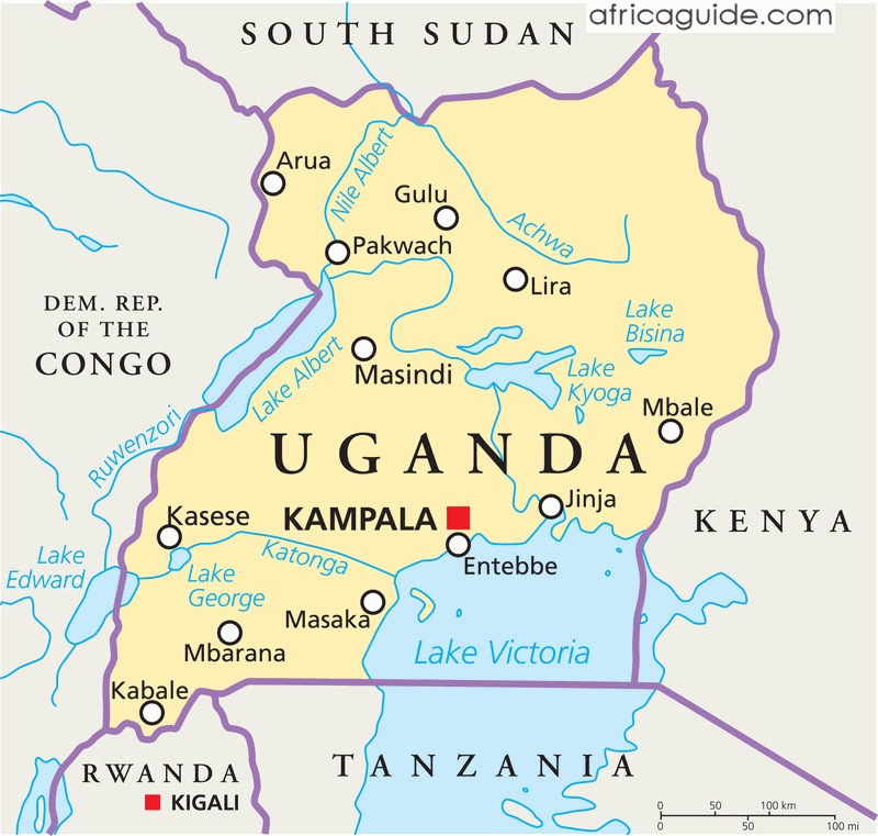 Kampala Uganda Map Uganda map with capital Kampala | lovely people | Uganda travel