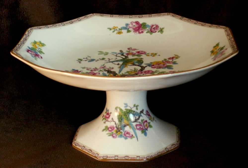 Crown ducal parrot decorated comport cake plate 1930s