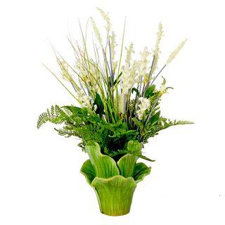 Creative Displays Heather and Grass with Fern Silk Flower in Green Leaf Ceramic Vase