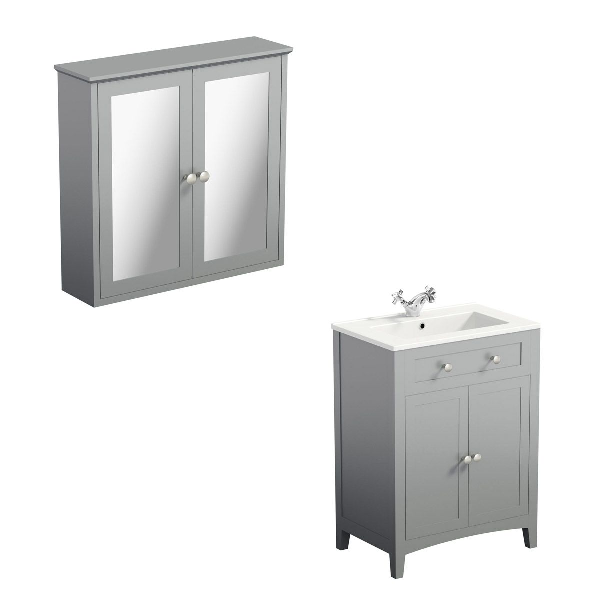 Bathroom Cabinets 700mm the bath co. camberley grey vanity unit 600mm and mirror cabinet