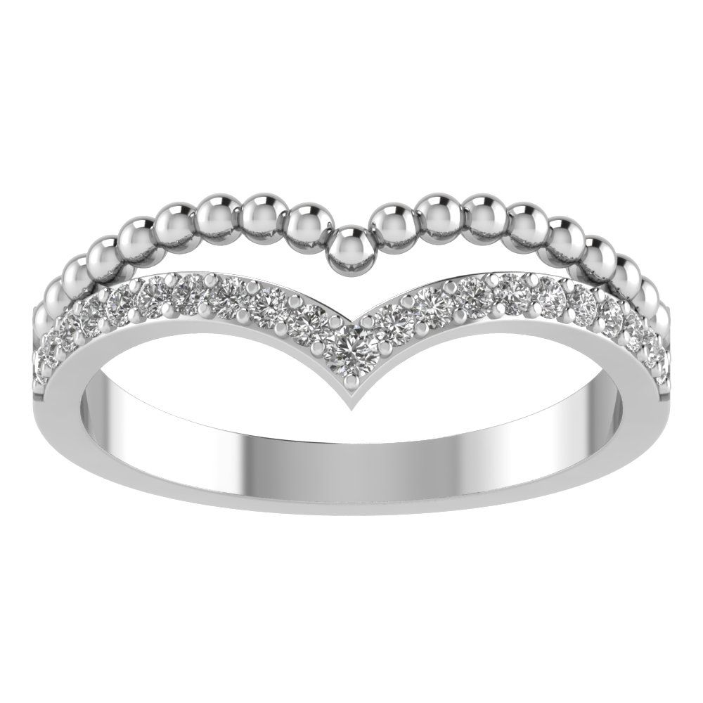 14k white gold curved ring diamond wedding bands