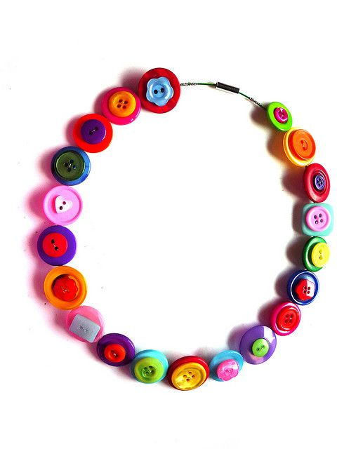 Rainbow Button Choker Necklace by Kitsch-tique, via Flickr