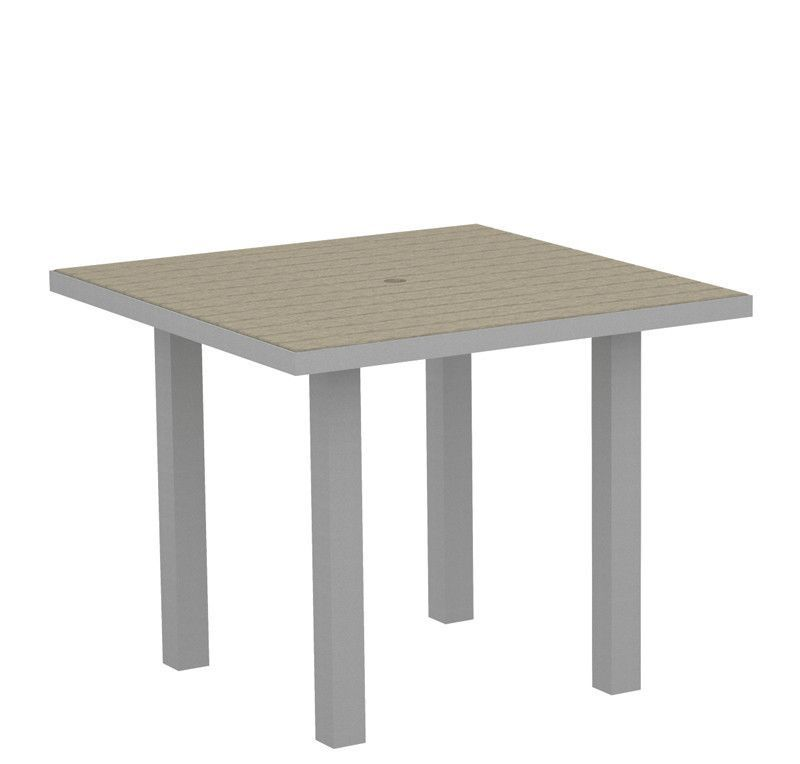 """Polywood AT36FASSA Euro 36"""" Square Dining Table in Textured Silver Aluminum Frame / Sand"""