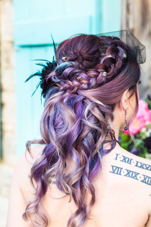 Purple Bridal Hair Edgy Wedding Hairstyles Braided Half Up Half