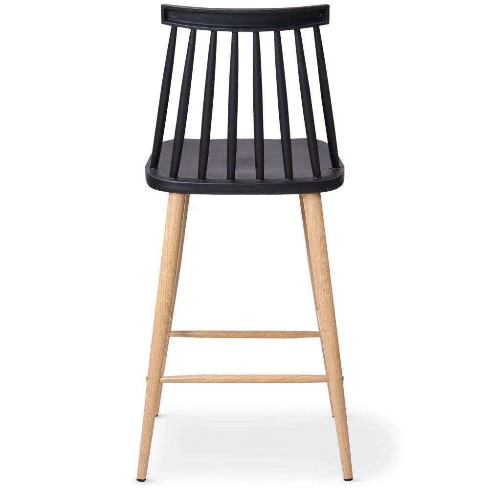 Chaise De Bar Nordique Noire Trouville Vue Dos Haute Design Noir