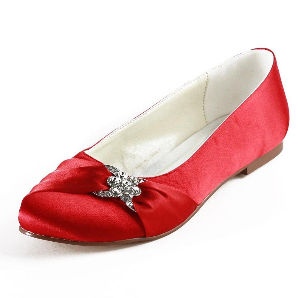 Elegantpark Women's Evening Party Round Toe Rhinestones Buckle Satin Flats  Wedding Bridal Shoes ** See this awesome image @