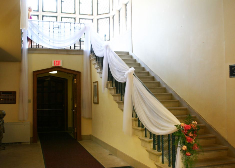 Decorating wedding staircase with chiffon head table decoration decorating wedding staircase with chiffon head table decoration chuppahs mandaps tent decoration fabric draping junglespirit Image collections
