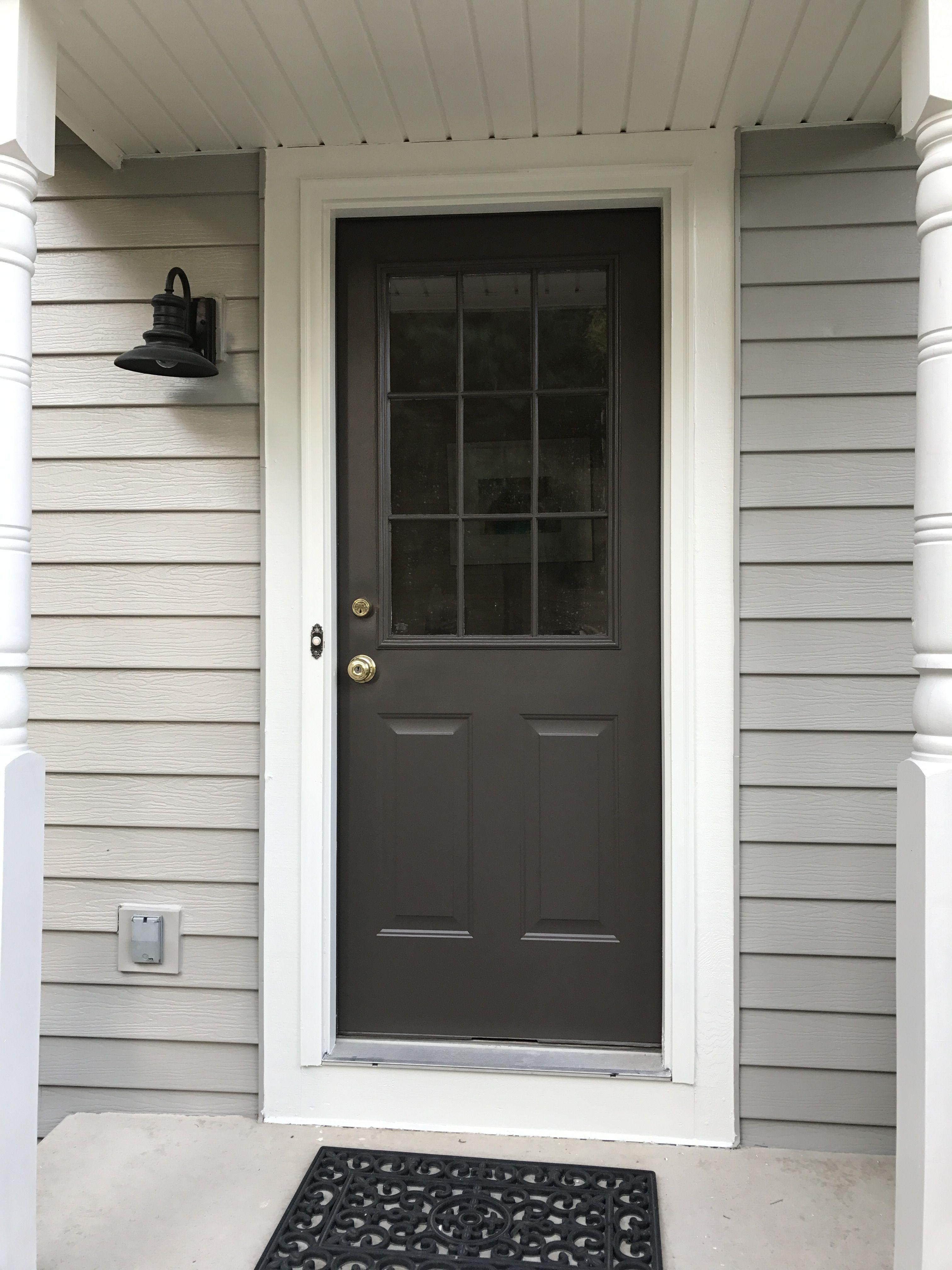 Door Sw Black Fox 7020 Siding Sw Dorian Gray 7017 Trim Sw Pearly White Exterior Door Colors Black Exterior Doors Gray House Exterior