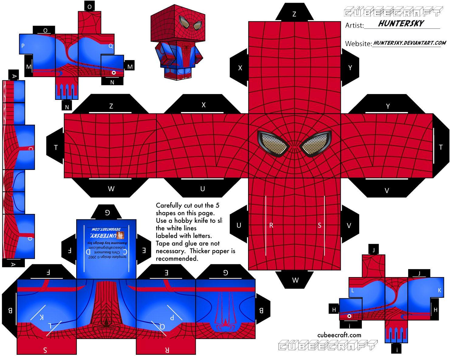 Amado Hombre Araña 3D para Imprimir Gratis. Juguetes de Papel  AQ78