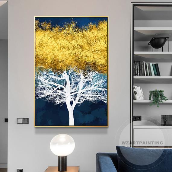 Framed Wall Art Modern Abstract Gold Tree Blue Large Wall Art
