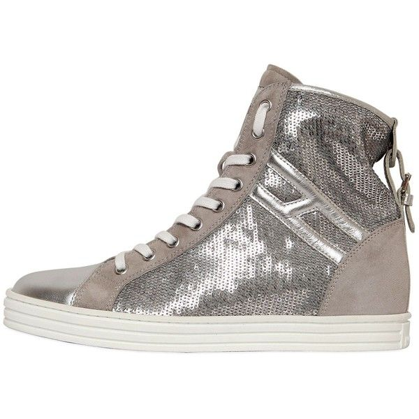 HOGAN REBEL 50mm Sequined Suede Sneakers (3.890 NOK) ❤ liked on Polyvore featuring shoes, sneakers, silver, hogan rebel, metallic sneakers, suede sneakers, rubber sole shoes and hogan rebel shoes