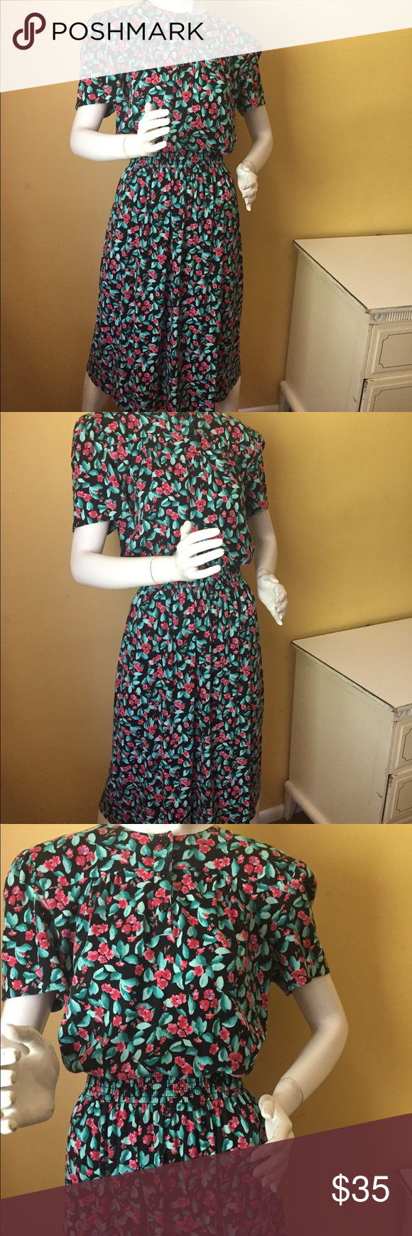 """Vintage Virgo11 floral dress Vintage Virgo11 floral dress. Union label. Fabric could be a cotton blend. Washing instructions on tag but doesn't state material. Length 48"""", waist 12"""" resting, but can stretch to 40"""", bust 42"""". Vintage Dresses"""