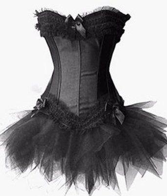 amazon burlesque black corset and petticoat