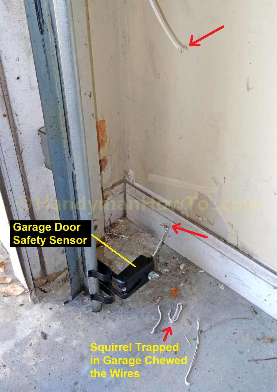 How to repair garage door safety sensor wires