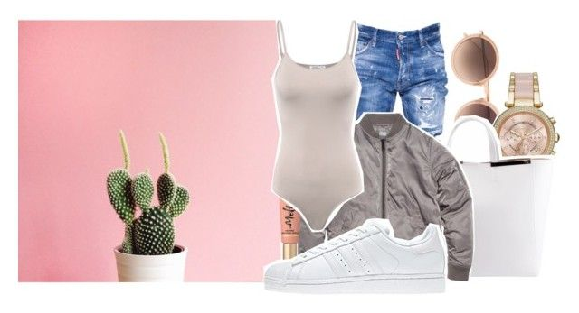 """""""Happy Sunday"""" by makkisme ❤ liked on Polyvore featuring Linda Farrow, Michael Kors, N°21, Dsquared2, Too Faced Cosmetics and adidas"""