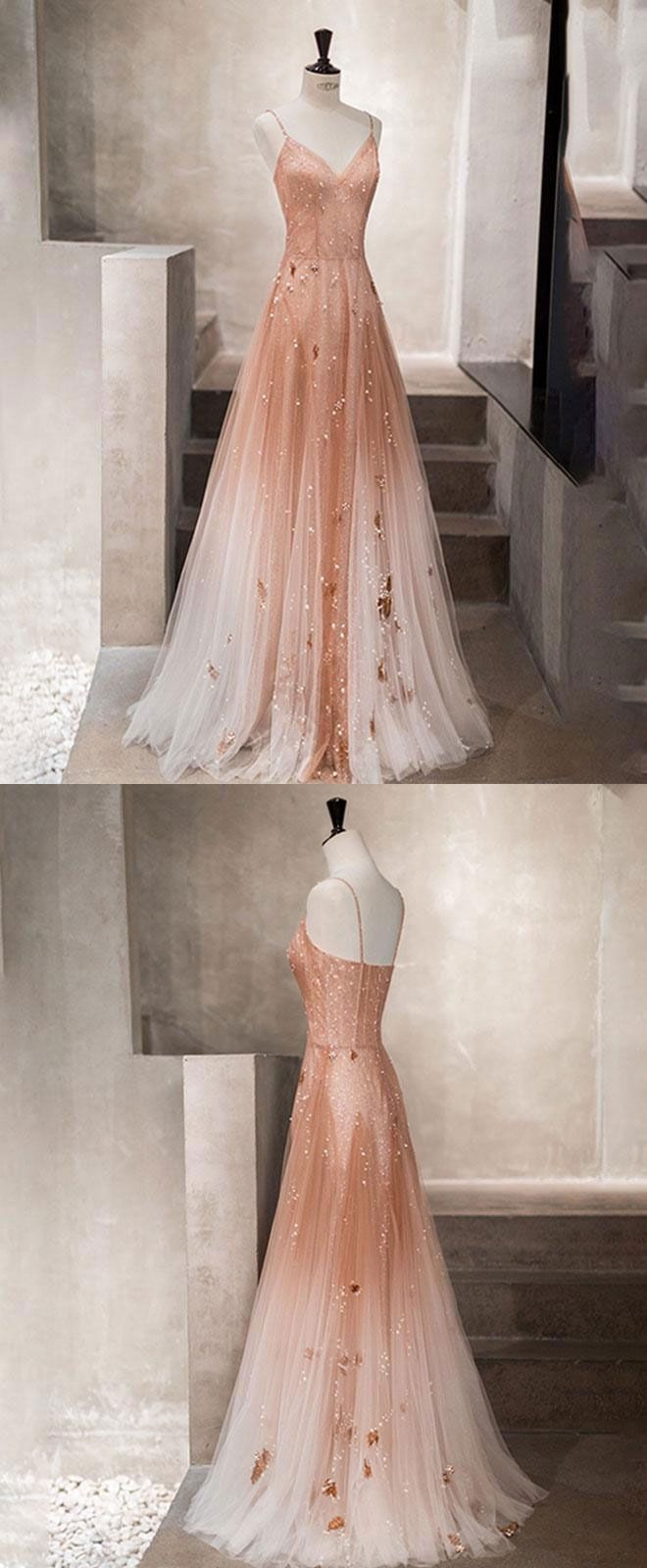 Unique champagne tulle long prom dress, tulle evening dress #promthings