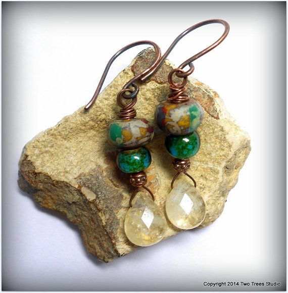 Dancing at Lughnasadh: Petite gemstone earrings for the carefree days of summer, citrine, colorful Czech glass, antiqued copper.  By Two Trees Studio, $31.00.