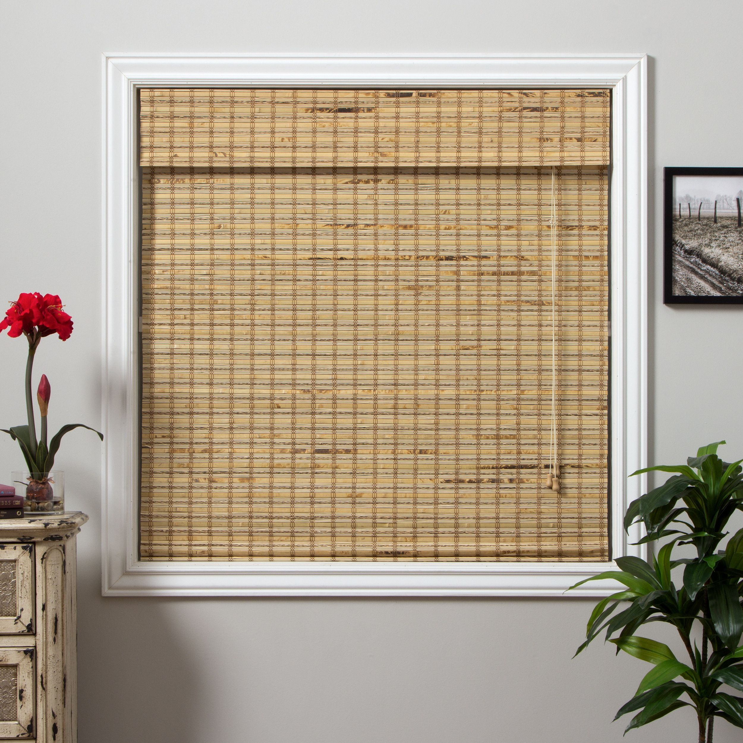 Arlo Blinds Mandalin Bamboo 54 Inch Long Roman Shade 22 In X 54 In Brown Size 22 X 54 Wood Bamboo Roman Shades Shades Blinds Outdoor Bamboo Shades