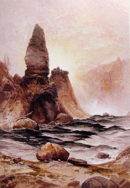 """""""Tower Falls at Yellowstone""""  Thomas Moran. Thomas Moran (February 12, 1837 – August 25, 1926) from Bolton, England was an American painter and printmaker of the Hudson River School in New York whose work often featured the Rocky Mountains. Moran and his family took residence in New York where he obtained work as an illustrator.  This helped him to launch his career as one of the premier painters of the American landscape."""
