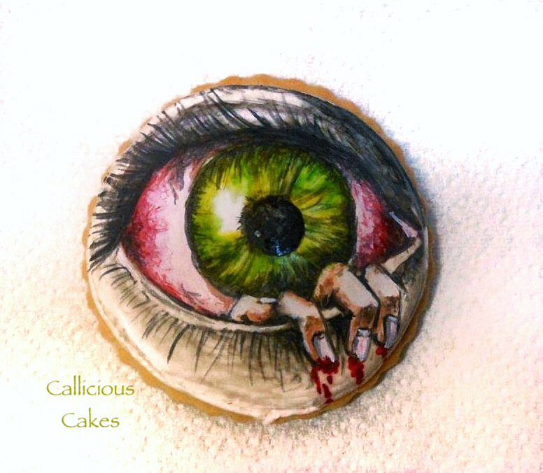 """The Eye. A hand painted cookie, inspired by the movie called """"The Eye"""" http://www.facebook.com/callicious"""