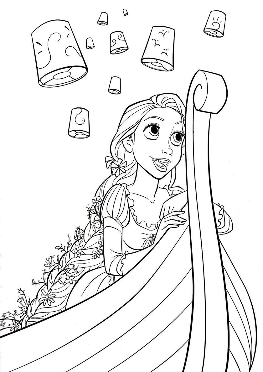 Rapunzel In A Boat High Quality Free Coloring From The Category Tangled More Printab Tangled Coloring Pages Princess Coloring Pages Rapunzel Coloring Pages
