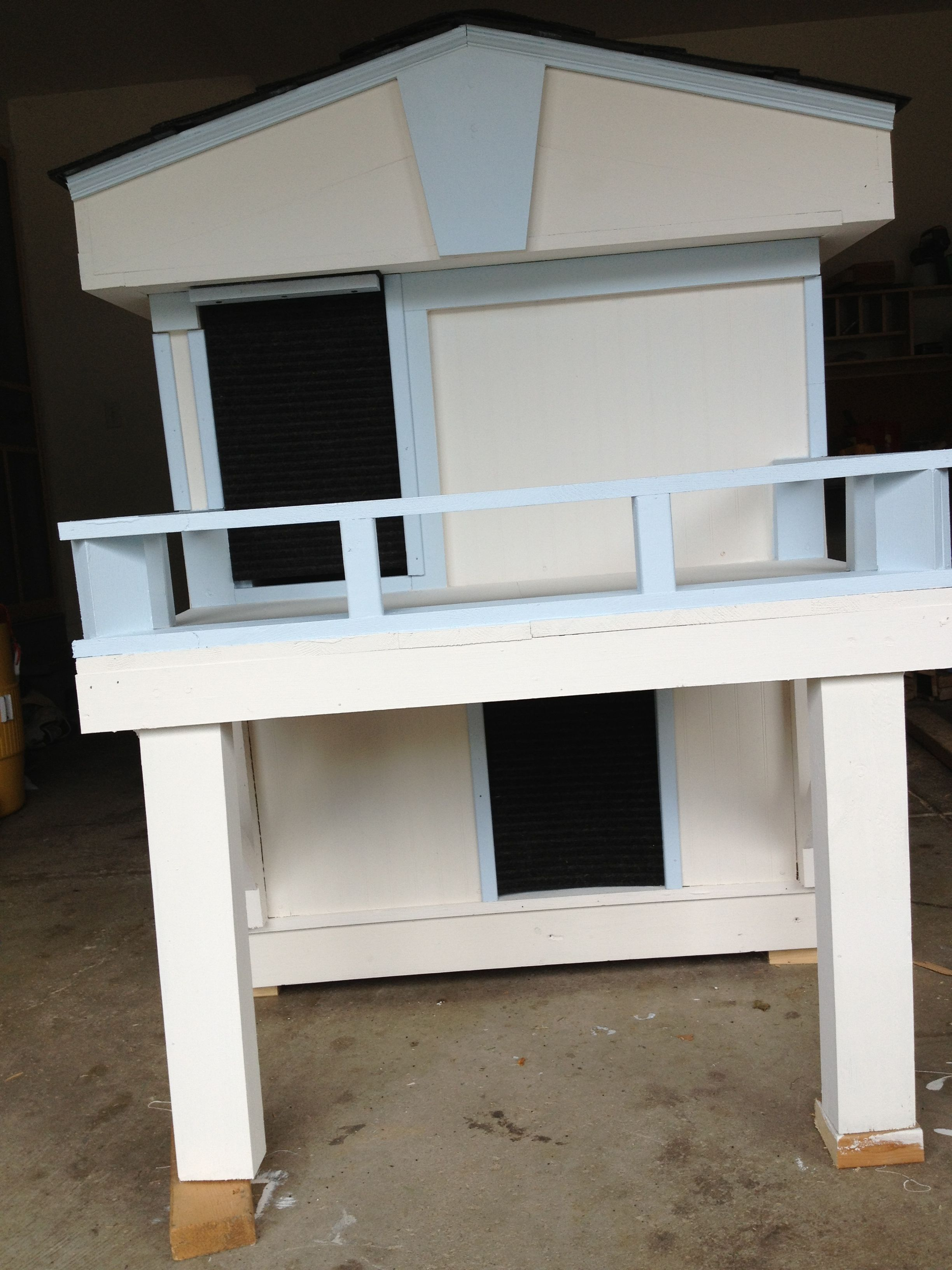 2 story dog house with inside stairs and upstairs balcony for Balcony upstairs