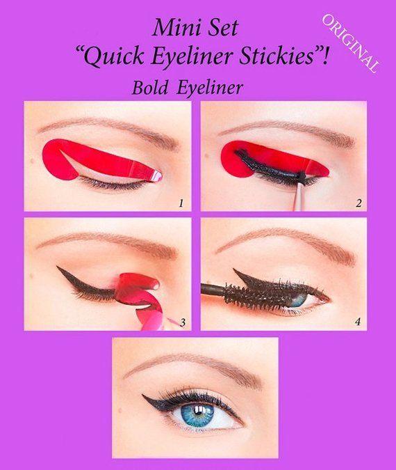 Quick Eyeliner Stickies Stencils Cosmetic Eye Makeup Tool MINI SET 24 pcs ORIGINAL -