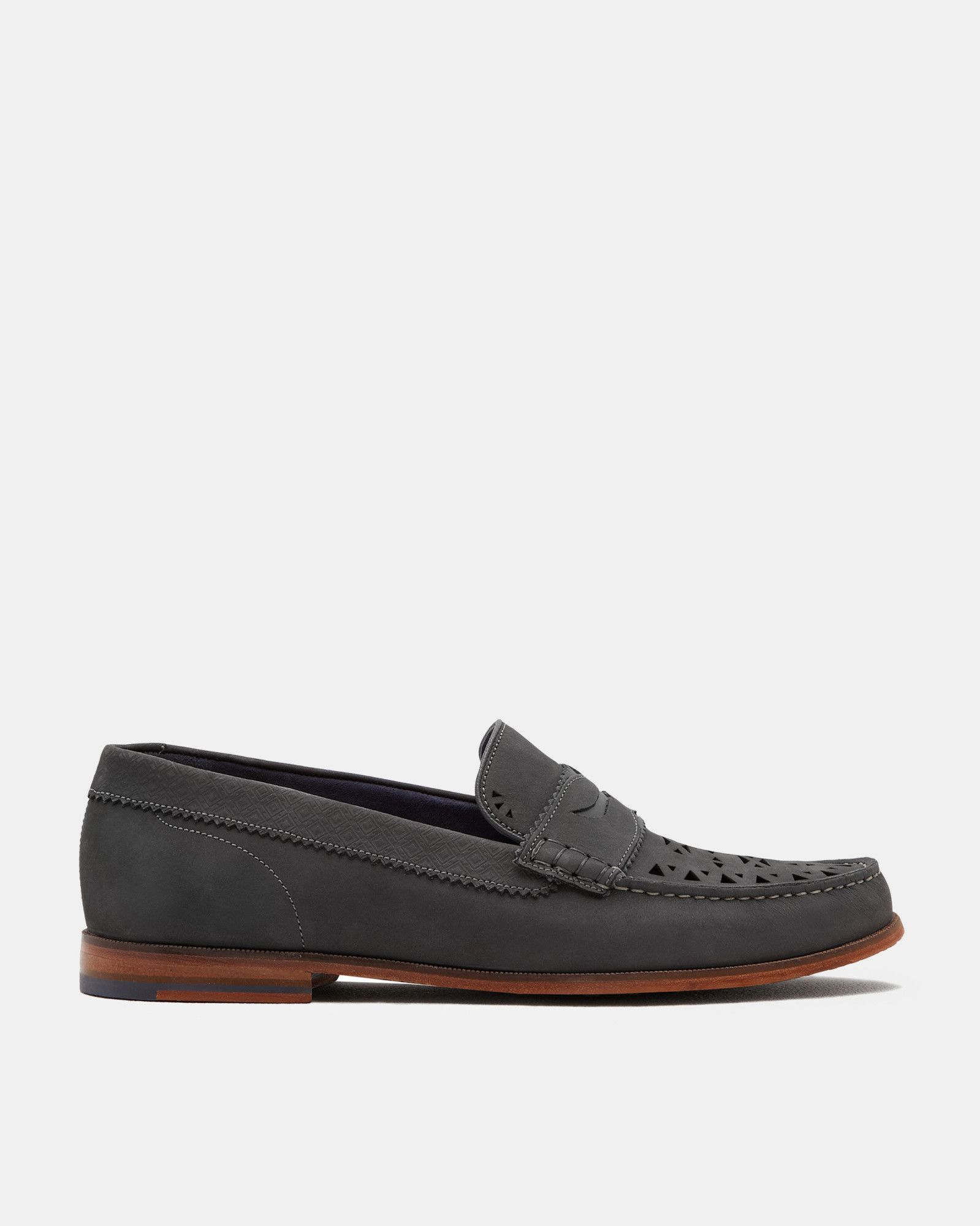 74da130a71d Ted Baker Nubuck suede cut-out loafers Grey