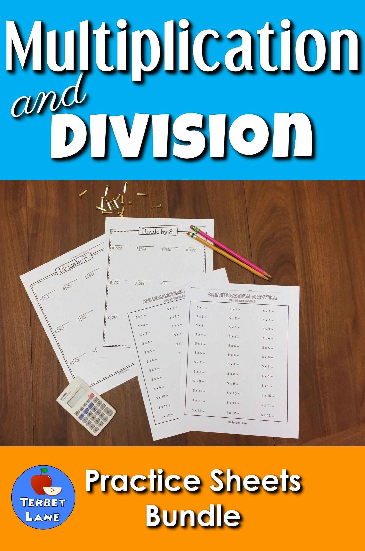 Multiplication Worksheets And Division Worksheets Bundle