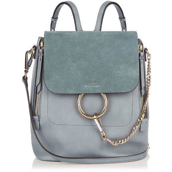 Chloé Faye Medium Suede And Leather Backpack 1 990 Liked On Polyvore Featuring Bags Backpacks Light Blue Zip Bag Genuine