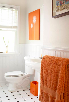 Simple Orange Accents In The Bathroom An Orange Hue Orange