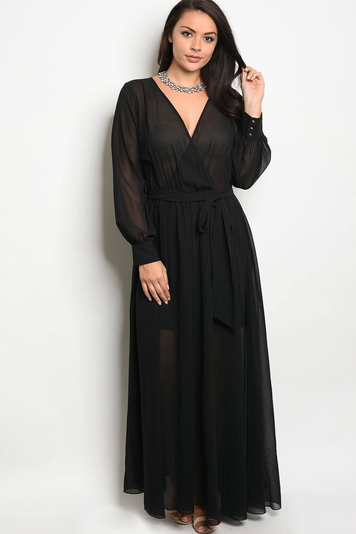 Ladies fashion plus size long sleeve chiffon maxi dress with a v
