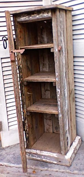 Sailors Cupboard with vintage door hinges,  wooden latch, four shelves, and secret compartment.