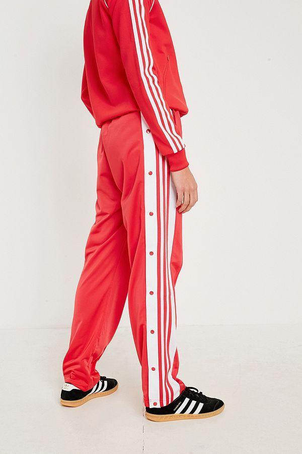 Adidas Originals adibreak Rojo 3 Stripe Popper pista pantalones