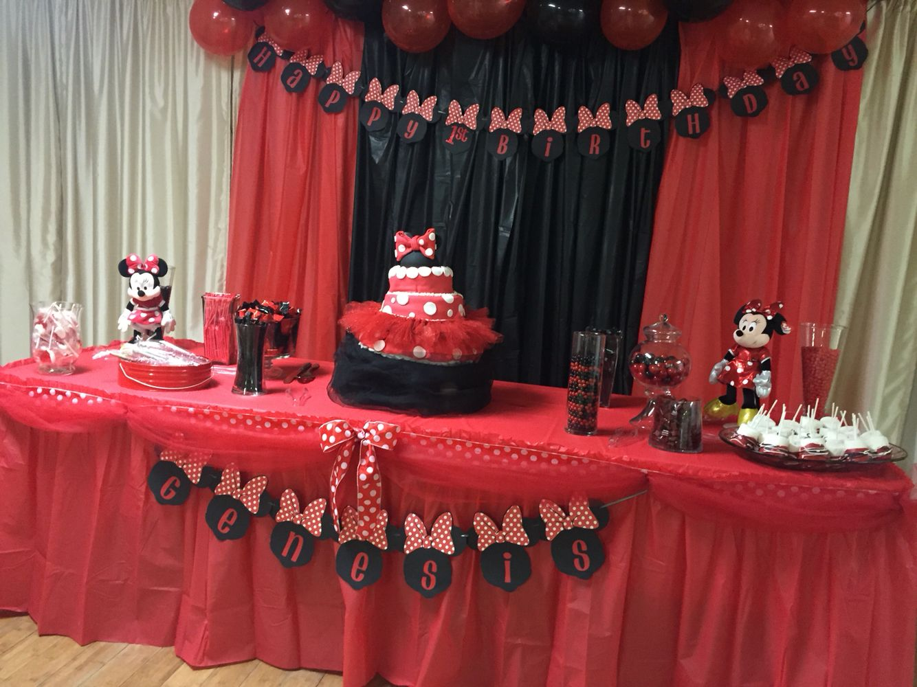 1st Birthday Minnie Mouse Cake Table Red And Black Minnie Mouse Party Decorations Minnie Mouse Party Red Minnie Mouse