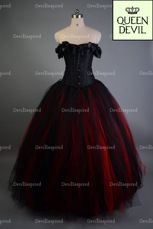 Red Black Off The Shoulder Romantic Gothic Corset Prom Dress ...