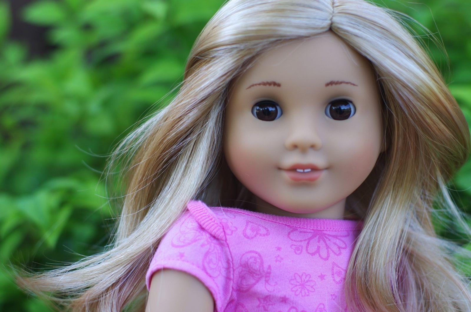 American girl doll custom marie grace myag blonde wig brown eyes