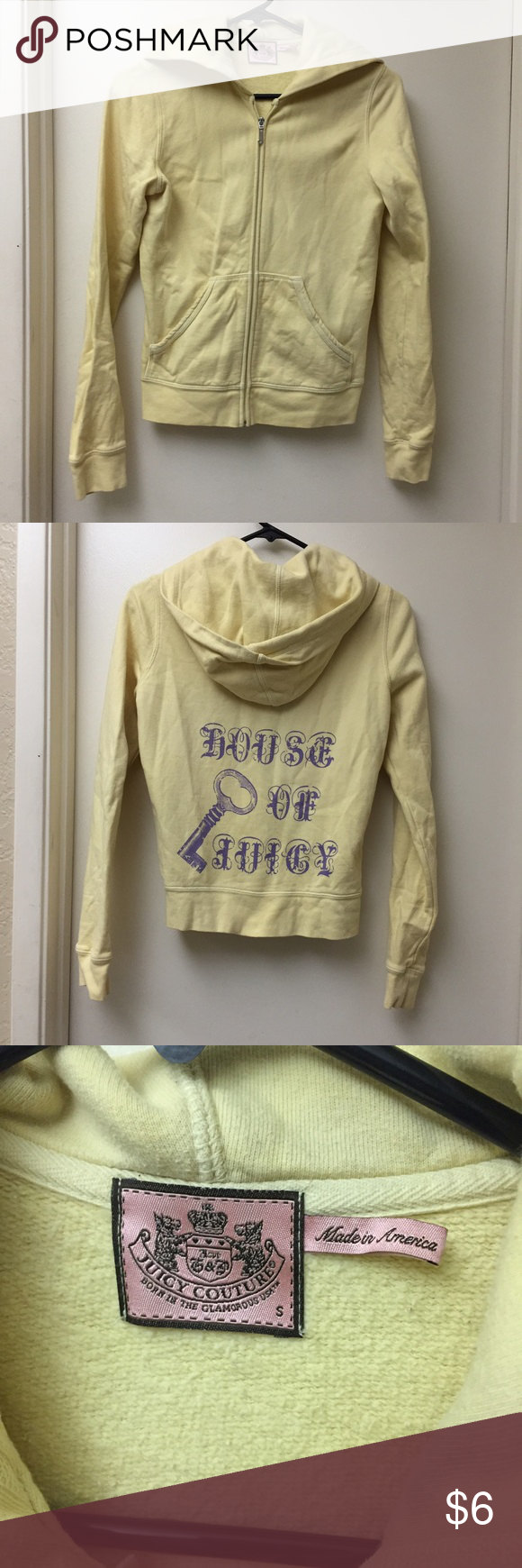 30% off bundles✨ Juicy Jacket Yellow with purple writing Juicy Couture zip up hoodie. In good condition, small discoloration on back right shoulder as shown in picture. Size small Juicy Couture Jackets & Coats